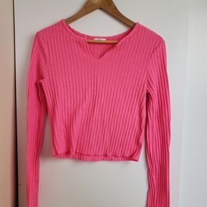 Areden Hot Pink Cropped Sweater.